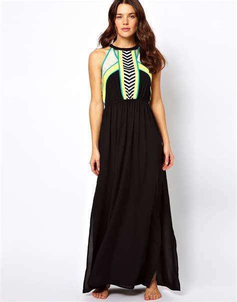 Mischa Maxi lyst river island micha maxi dress in black