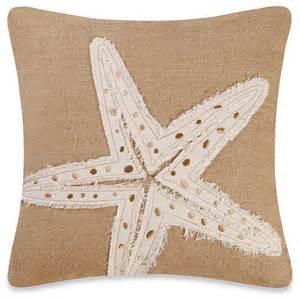 Decorative Burlap Pillows burlap starfish embroidery square toss pillow