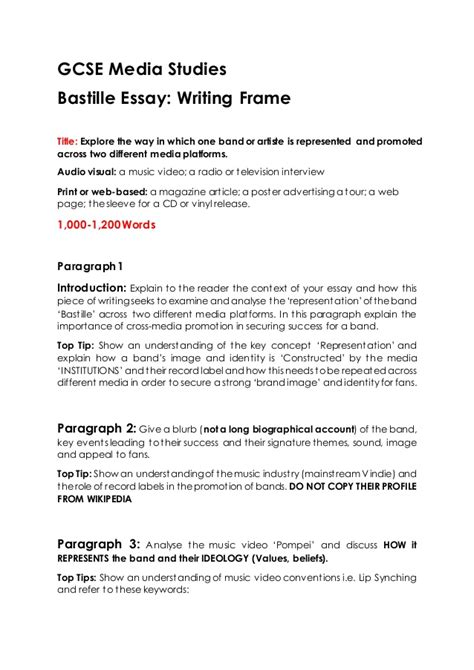 Media Studies Essay by Gcse Media Studies Bastille Essay Writing Frame
