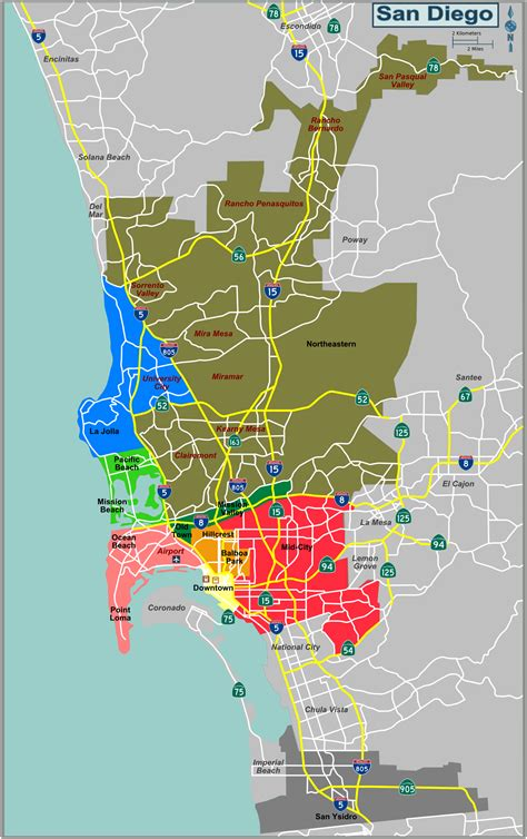 sections of san diego downtown san diego map neighborhoods