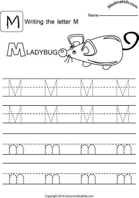 M Tracing Worksheet by Learning The Letter M Popflyboys