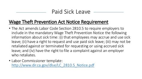 notice to employee labor code section 2810 5 understanding california s new paid sick leave law and