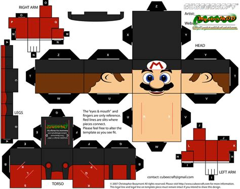 Mario Papercraft - mario cubeecraft papercraft by