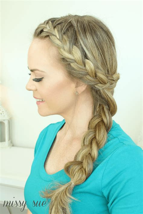 images of french plaits behind each ear wrap around french side braid