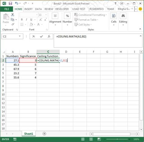 Ceil Math by Ceiling Math Function In Excel 2013