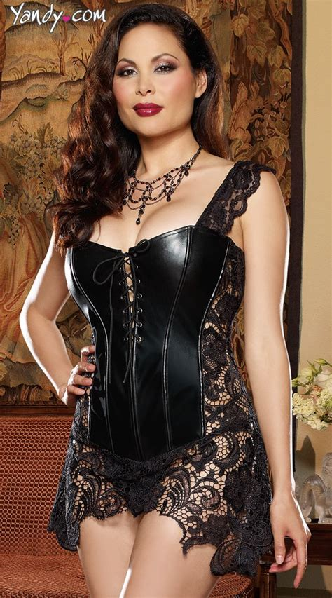 Blouse Bigsize Gabriela by Plus Size Faux Leather And Venice Lace Corset Lace