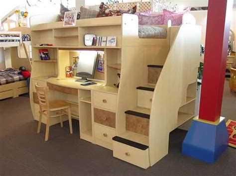 Loft Bed With Desk Plans by How To Build A Loft Bed With Desk Underneath With Brown