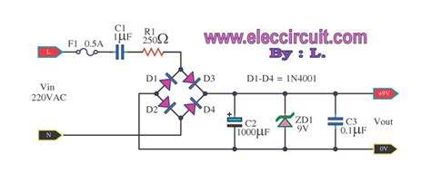 diode circuits with dc source transformerless ac to dc power supply circuits electronic projects circuits