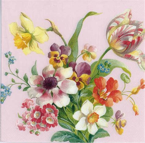 decoupage paper napkins of flowers