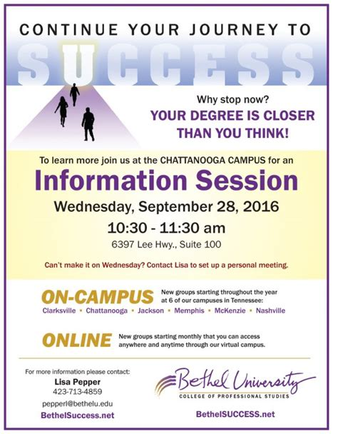 Utc Mba Tuition by Information Session Chattanooga Bethel