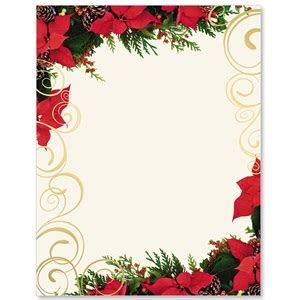 Poinsettia Swirl Specialty Border Papers   PaperDirect's