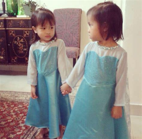 Baju Frozen Kembar gambar majlis hari jadi anak kembar sazzy falak dengan tema frozen diana rashid