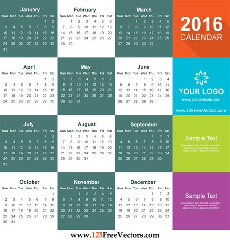 2016 calendar template free download 123freevectors