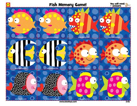 printable toddler matching games printable fish memory game for toddlers ece crafts kids
