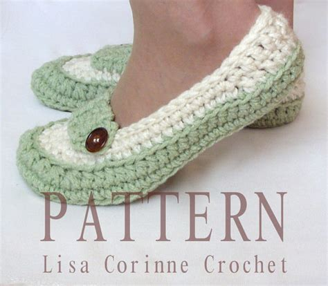 crochet house shoes womens loafer slippers modern crochet pattern pdf instant download house shoes