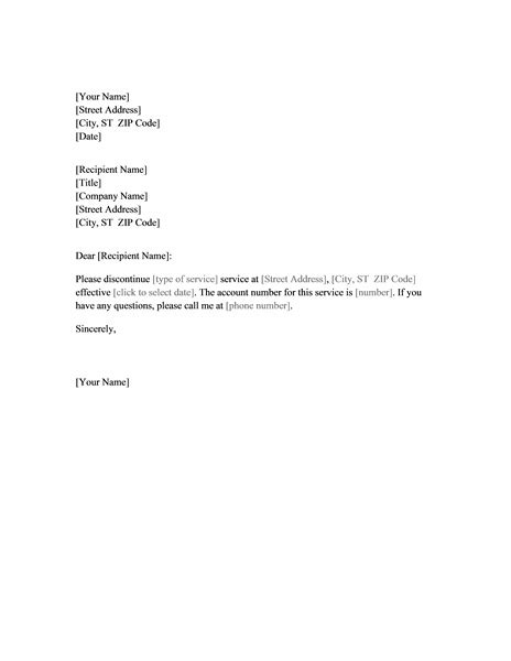 cancellation account letter cancellation of service letter letter of recommendation