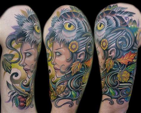 mother nature tattoo nature with owl by vince villalvazo tattoonow