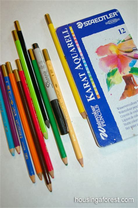 water colored pencils water color pencils housing a forest