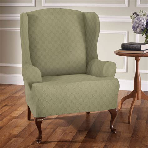 wingback sofa slipcover newport stretch wing chair slipcovers
