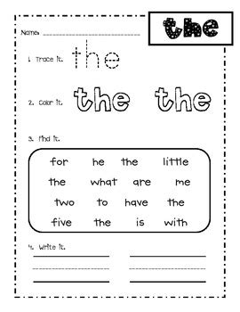 first grade fry words 1 25 sight word practice by amy
