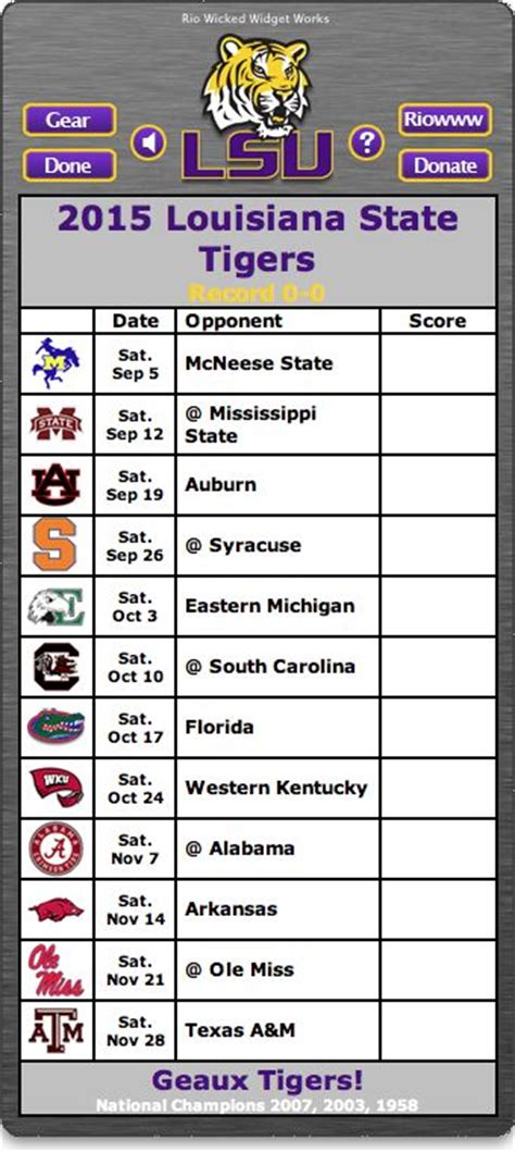 printable lsu schedule 2015 football tigers and lsu on pinterest