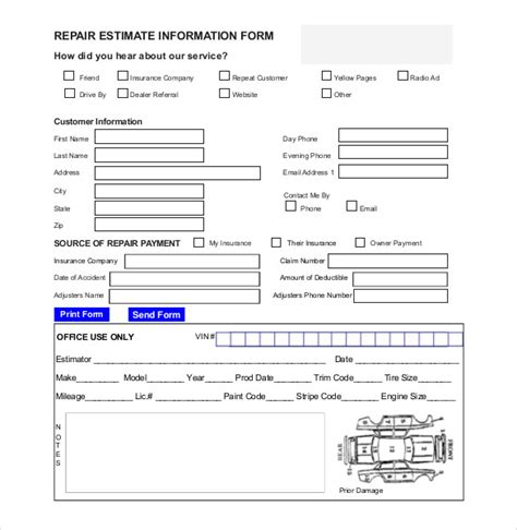 Auto Repair Forms Template Hardhost Info Repair Estimate Template Excel