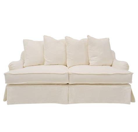 Quatrine Furniture Milan Slipcovered Sofa In White Linen Linen Slipcovered Sofa