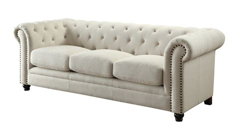 Rolled Back Sofa by Coaster Roy Traditional Button Tufted Sofa With Rolled