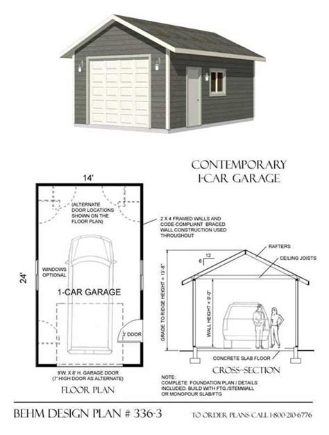 single garage plans single car garage designs 1 car garage plan no 336 3behm