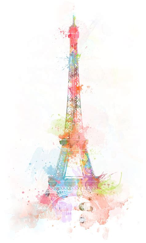 colors colours eiffeltower painting image 65007 on favim