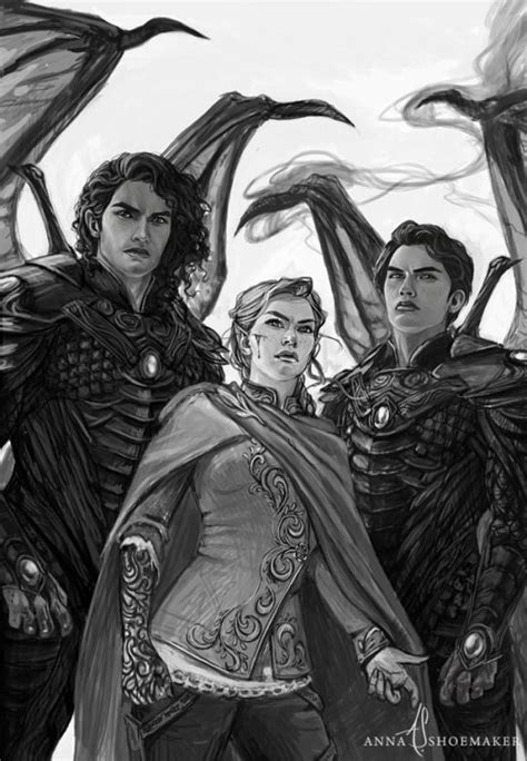 Feyre, Cassian, and Azriel in A Court of Wings and Ruin