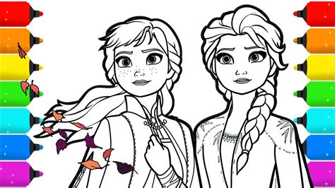 frozen  elsa  anna drawing  coloring youtube