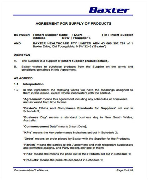 Supply Agreement Letter Of Credit 9 supply contract sles templates pdf doc