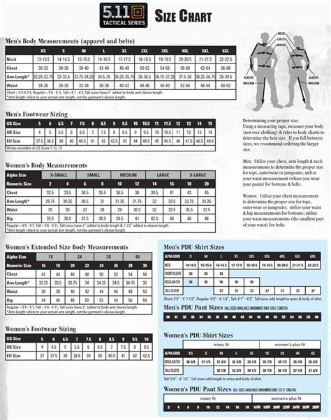 All Size 5 5 11 tactical size chart