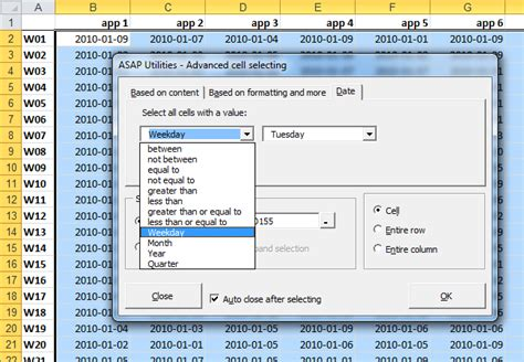 select format date php asap utilities for excel select 187 select cells based on