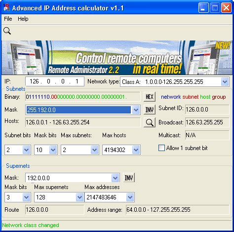 calculator ip advanced ip address calculator v1 1 freeware download