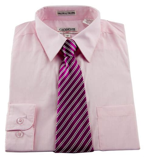 pink combination boys shirt and tie combination pink bst109