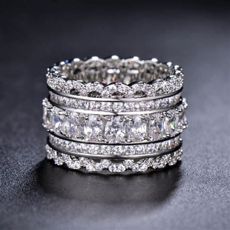 unique wedding band deco cubic zirconia ring
