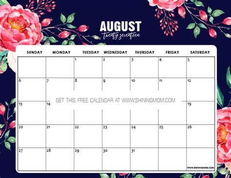 home decor singapore august 2017 pdf download free free printable august 2017 calendars 12 awesome designs