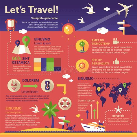 Travel Infographics Poster Brochure Cover Template Stock Vector Illustration Of Flat Travel Infographic Template