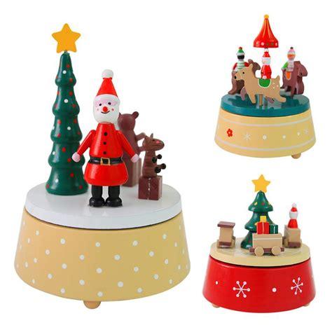 merry christmas rotating wooden  box christmas tree  tone box christmas birthday