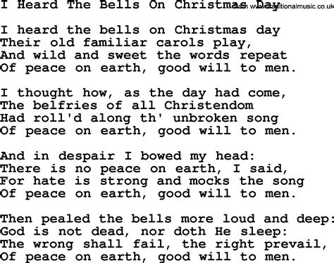 catholic hymns song i heard the bells on christmas day