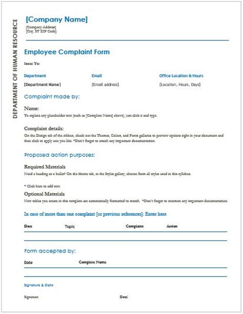 employee complaint forms for ms word word amp excel templates