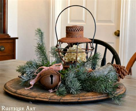 a wintery rustic christmas centerpiece