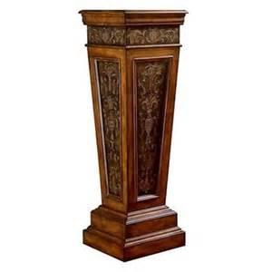 wood metal column plant stand display pedestal