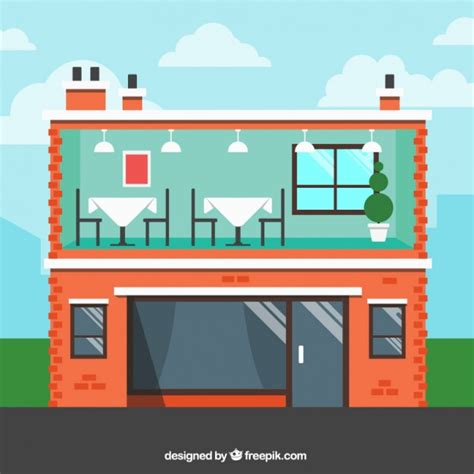 Building Designer Free interior and exterior building restaurant in flat design