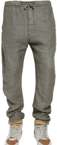 Jogger Katun Canvas Polos d g linen canvas trousers in gray for grey lyst