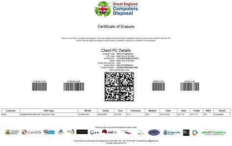 drive certificate template free lan disk data erase wiping
