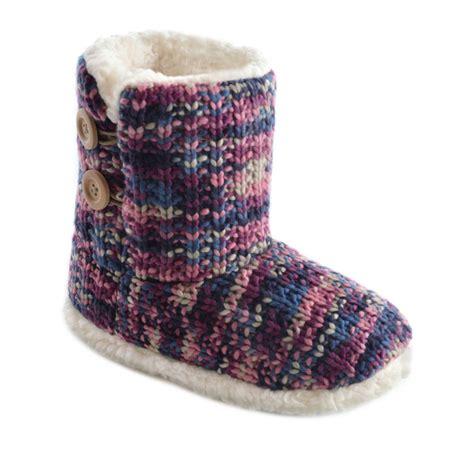 fleece boot slippers slumberzzz mixed pattern knitted and warm fleece