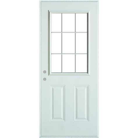 stanley doors 32 in x 80 in colonial 9 lite 2 panel painted white right steel prehung